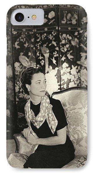 Duchess Of Windsor In Short-sleeved Dress IPhone Case by Horst P. Horst