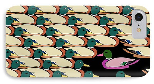 Duck Against The Flow IPhone Case by Allan Swart