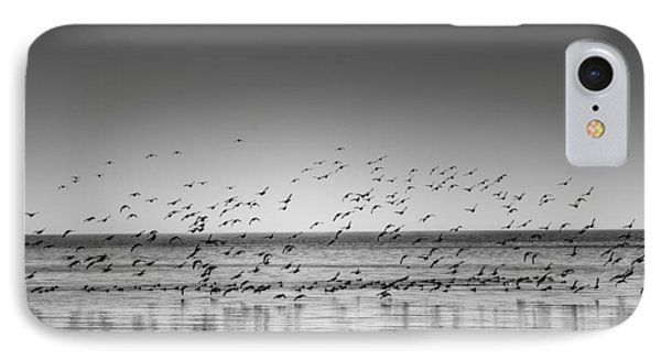 Duck Over Lake 1 B_w IPhone Case by Peter Scott