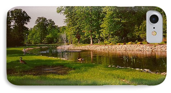 Duck Pond With Water Fountain IPhone Case by Amazing Photographs AKA Christian Wilson