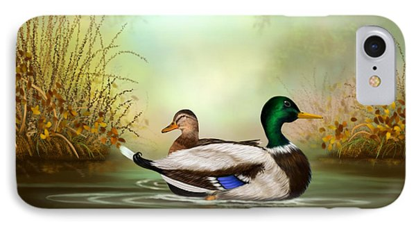 IPhone Case featuring the painting Duck Retreat by Sena Wilson