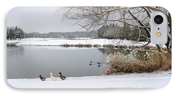 Duck Walk IPhone Case by John Loreaux