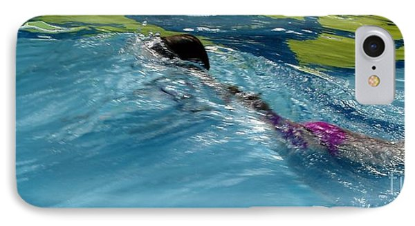 Ducking Under A Wave In A Pool IPhone Case by Kerri Mortenson