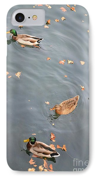 Ducks And Autumn Leaves IPhone Case by Kathleen Pio