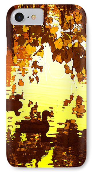 Ducks On Red Lake B Phone Case by Amy Vangsgard