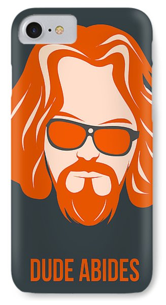 Dude Abides Orange Poster IPhone Case by Naxart Studio