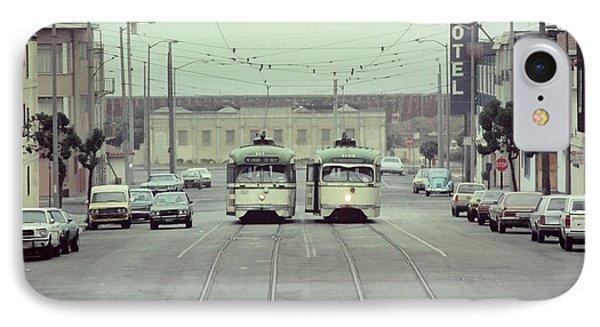 N Judah Dueling Streetcars.  End Of Judah Street.  1970s. IPhone Case