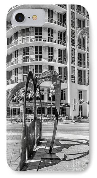 Duenos Do Las Estrellas Sculpture - Downtown - Miami - Black And White IPhone Case by Ian Monk