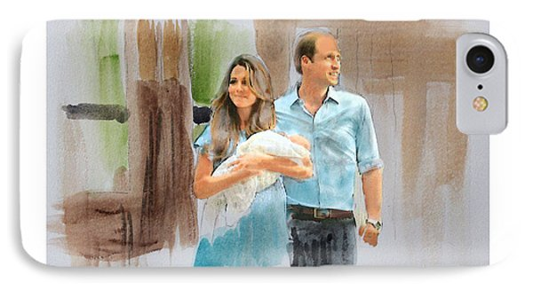 Duke And Duchess Of Cambridge With Their New Son Phone Case by Roger Lighterness