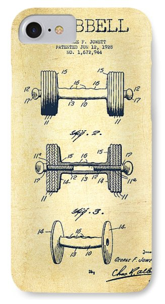 Dumbbell Patent Drawing From 1927 - Vintage IPhone Case by Aged Pixel