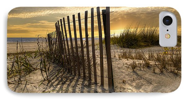 Dune Fence At Sunrise Phone Case by Debra and Dave Vanderlaan