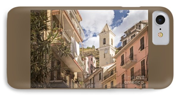 Duomo Bell Tower Of Manarola IPhone Case by Prints of Italy