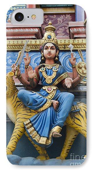 Durga Statue On Hindu Gopuram Phone Case by Tim Gainey
