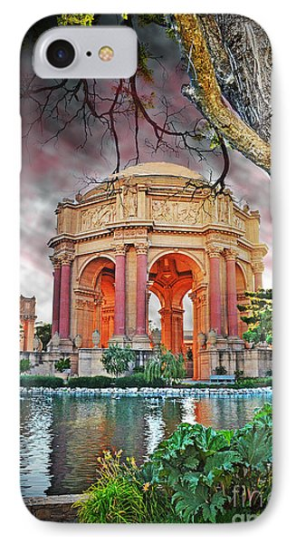 Dusk At The Palace Of Fine Arts In The Marina District Of San Francisco II Altered Version IPhone Case by Jim Fitzpatrick