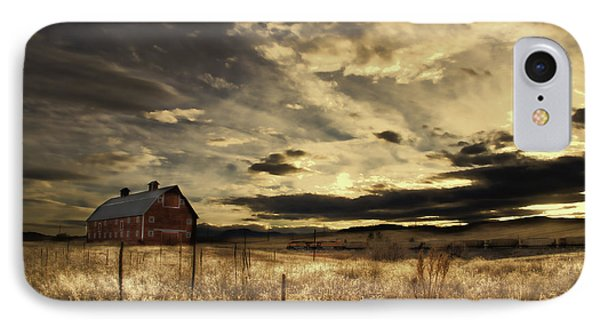 Dusk At The Red Barn IPhone Case by Kristal Kraft
