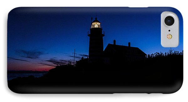 Dusk Silhouette At West Quoddy Head Lighthouse Phone Case by Marty Saccone