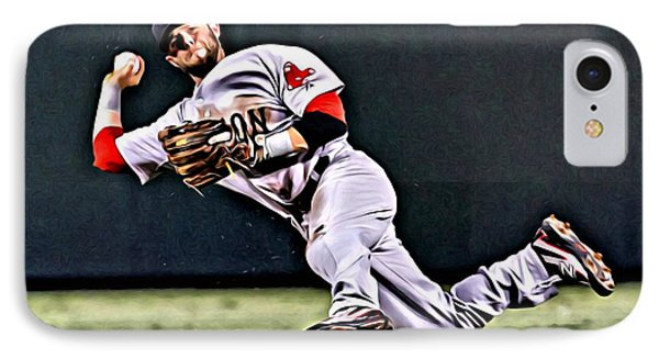 Dustin Pedroia IPhone Case by Florian Rodarte