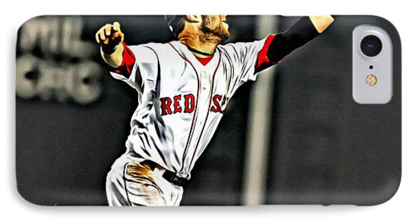 Dustin Pedroia Painting IPhone Case by Florian Rodarte