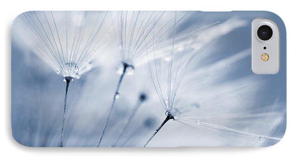 Dusty Blue Dandelion Clock And Water Droplets Phone Case by Natalie Kinnear