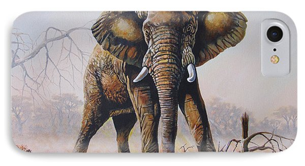 IPhone Case featuring the painting Dusty Jumbo by Anthony Mwangi