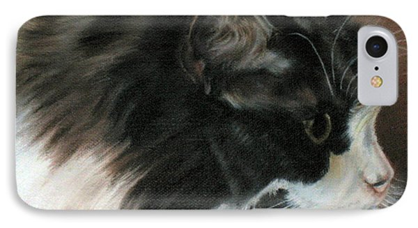 IPhone Case featuring the painting Dusty Our Handsome Norwegian Forest Kitty by LaVonne Hand