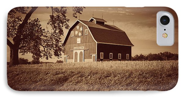 Dutch Colonial Quilt Barn In Sepia IPhone Case
