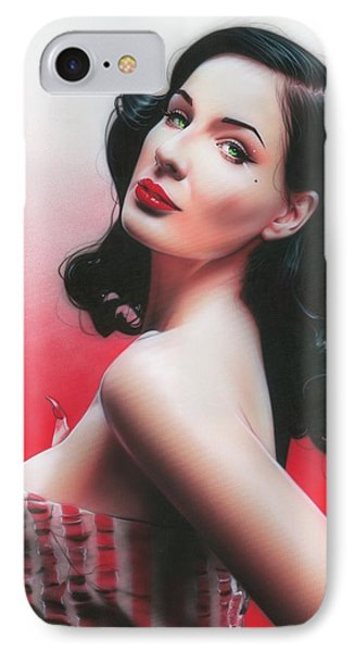 Dita Von Teese - ' D. V. T. ' IPhone Case by Christian Chapman Art