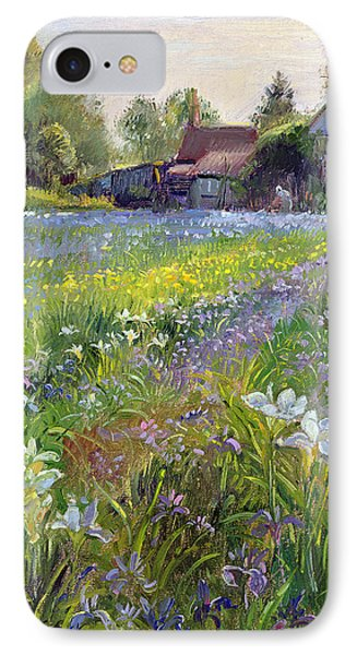 Dwarf Irises And Cottage IPhone Case by Timothy Easton