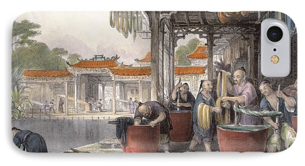 Dyeing And Winding Silk, From China IPhone Case by Thomas Allom