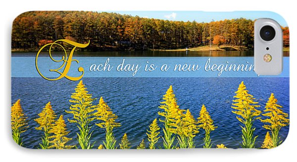 Each Day Is A New Beginning Lake With Goldenrod Phone Case by Beverly Claire Kaiya