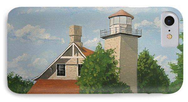 IPhone Case featuring the painting Eagle Bluff Lighthouse Wisconsin by Norm Starks