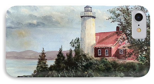 Eagle Harbor Light IPhone Case by Lee Piper