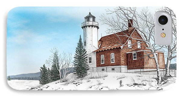 Eagle Harbor Lighthouse Titled Phone Case by Darren Kopecky