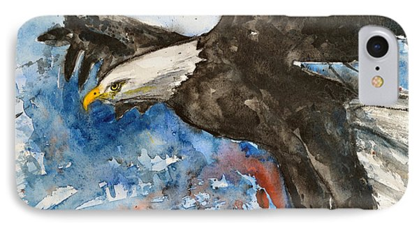 IPhone Case featuring the painting Eagle In Flight by Ismeta Gruenwald