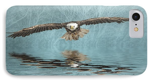 IPhone Case featuring the photograph Eagle On Misty Lake by Brian Tarr