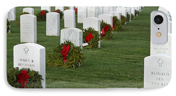 Eagle Point National Cemetery At Christmas Phone Case by Mick Anderson