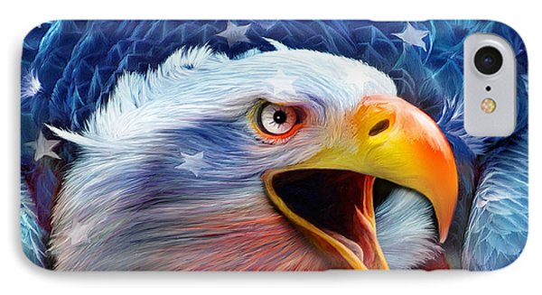 Eagle Red White Blue 2 IPhone Case by Carol Cavalaris