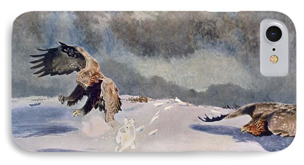 Eagles And Rabbit, 1922 IPhone Case by Bruno Andreas Liljefors