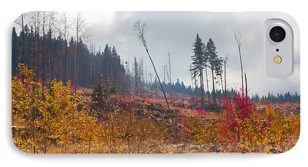 IPhone Case featuring the photograph Early Autumn Yellow Red Colored Mountain View by Jivko Nakev