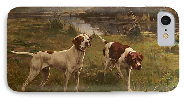 Early Morning  Pointers IPhone Case by Percival Leonard Rosseau
