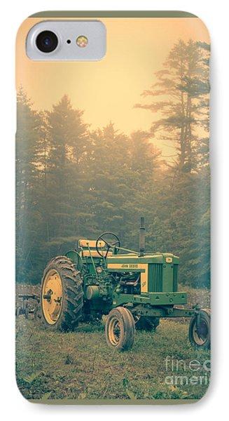 Early Morning Tractor In Farm Field IPhone Case by Edward Fielding