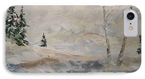 IPhone Case featuring the painting Early Snow by Alan Lakin
