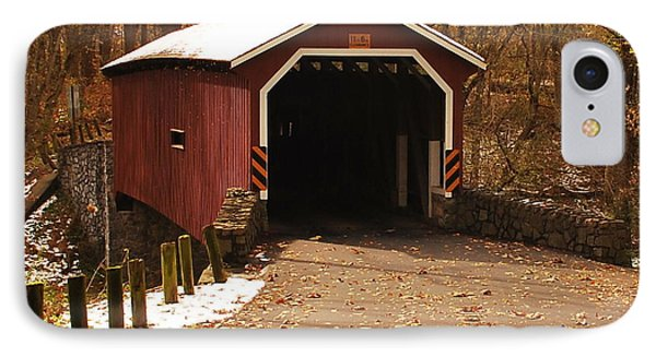 IPhone Case featuring the photograph Early Snowfall On Wooden Covered Bridge by Bob Sample