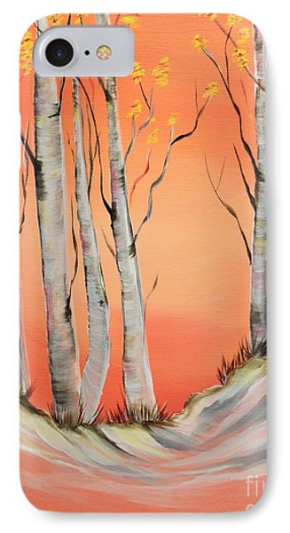 IPhone Case featuring the painting Early Winter Aspen by Janice Rae Pariza