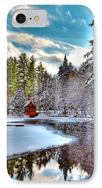 Early Winter At The Red Boathouse IPhone Case by David Patterson