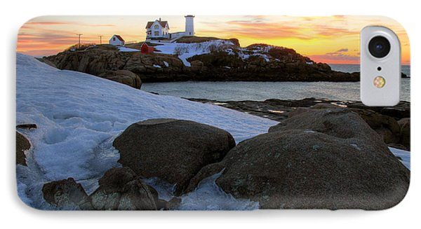 Early Winter Morning At Cape Neddick Lighthouse Phone Case by Brett Pelletier