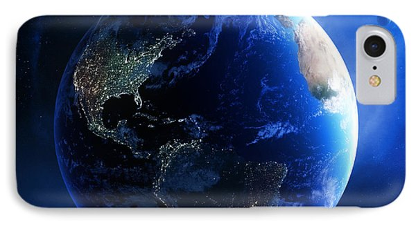 Earth And Galaxy With City Lights Phone Case by Johan Swanepoel