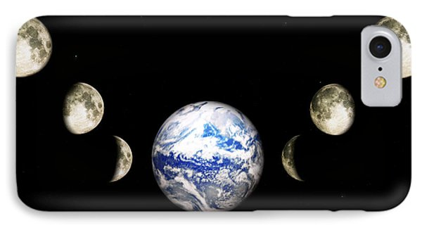 Earth And Phases Of The Moon Phone Case by Bob Orsillo
