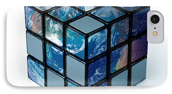 Earth As Rubiks Cube IPhone Case by Spencer Sutton