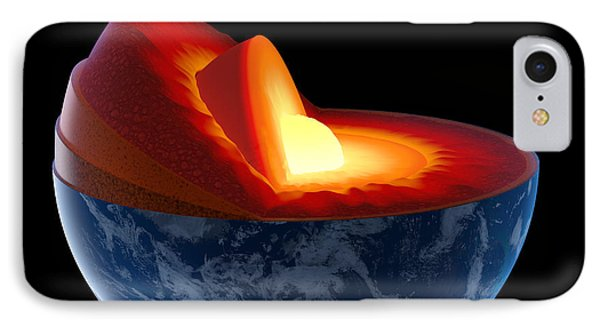 Planets iPhone 7 Case - Earth Core Structure - Isolated by Johan Swanepoel